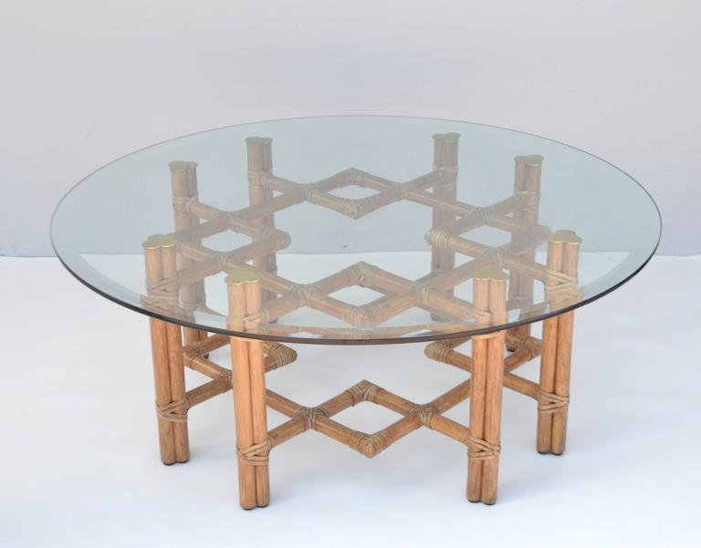 Mid Century Round Bamboo And Brass Glass Top Cocktail