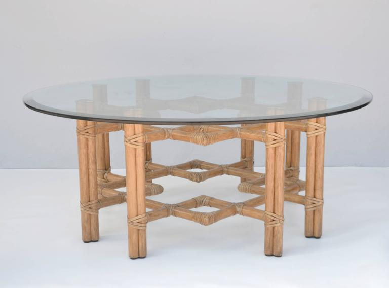 Mid Century Round Bamboo And Brass Glass Top Cocktail Table For Sale At 1stdibs