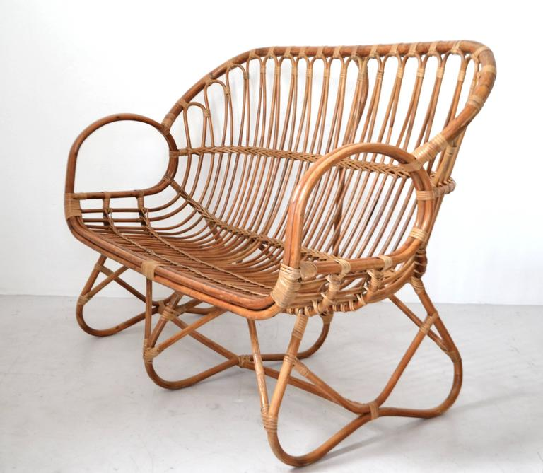 North American Mid-Century Sculptural Bent Bamboo Settee For Sale