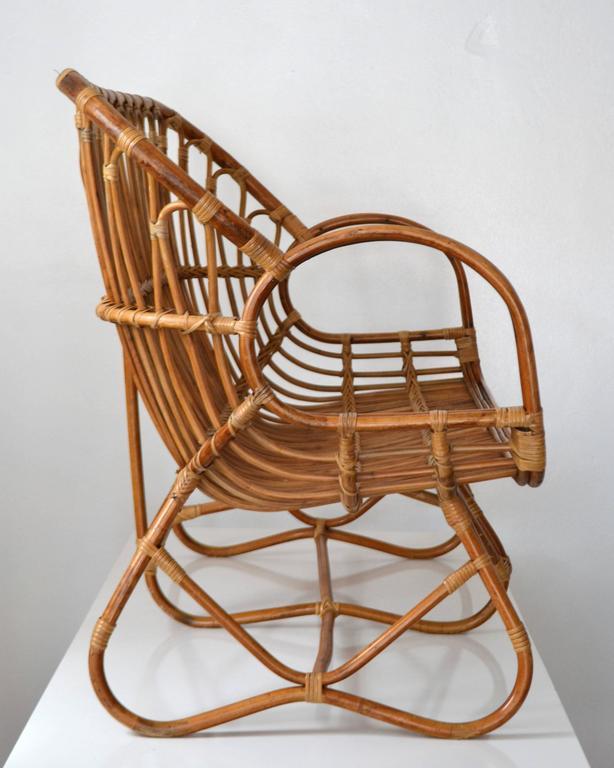 Mid-Century Modern Midcentury Sculptural Bent Bamboo Settee For Sale