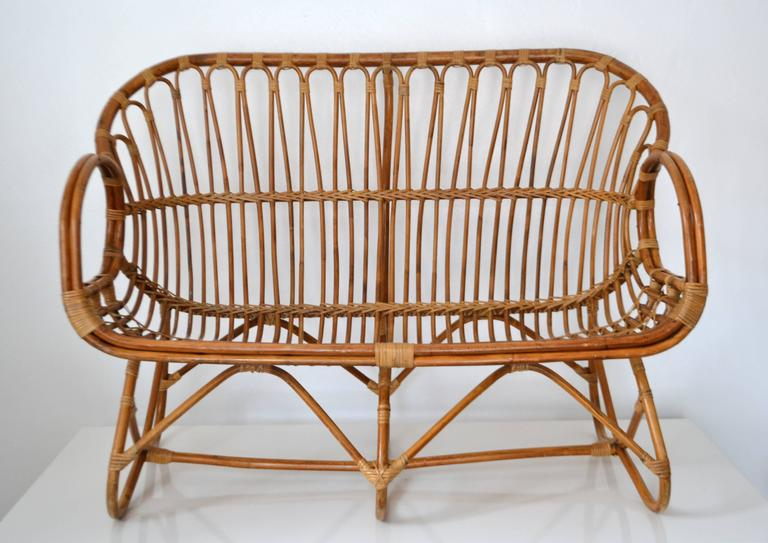 Mid-Century Sculptural Bent Bamboo Settee For Sale 3