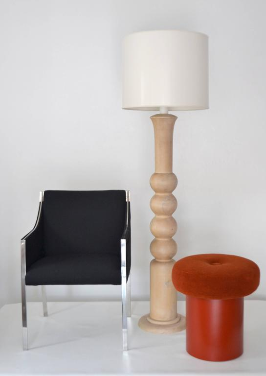Mid-Century Turned Wood Candlestick Floor Lamp 2