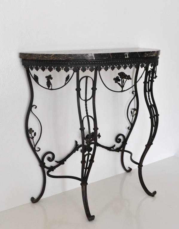 Hollywood Regency Style Italian Wrought Iron Console Table with Marble Top For Sale 2