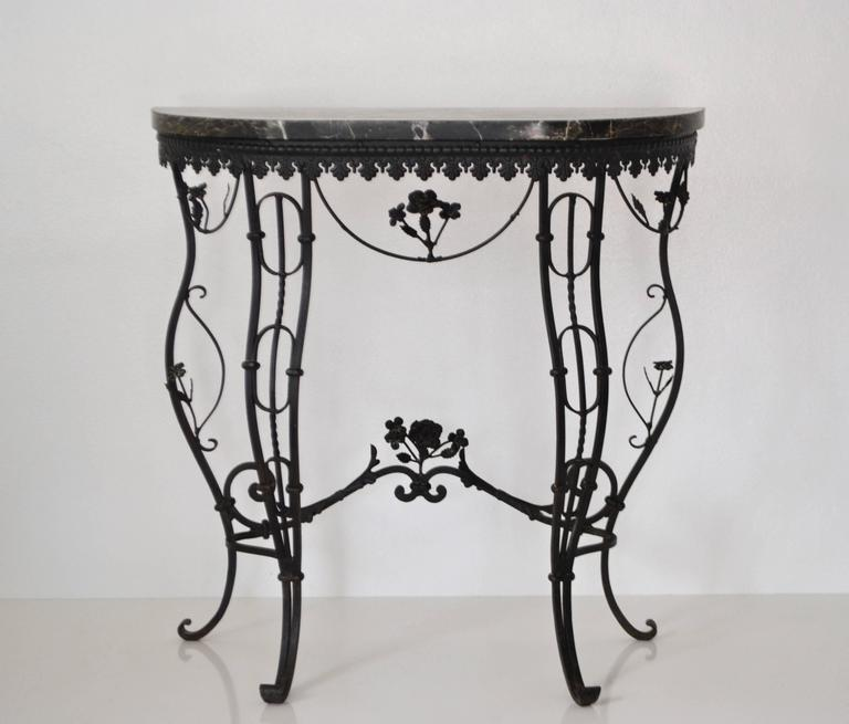 Hollywood Regency Style Italian Wrought Iron Console Table with Marble Top For Sale 1