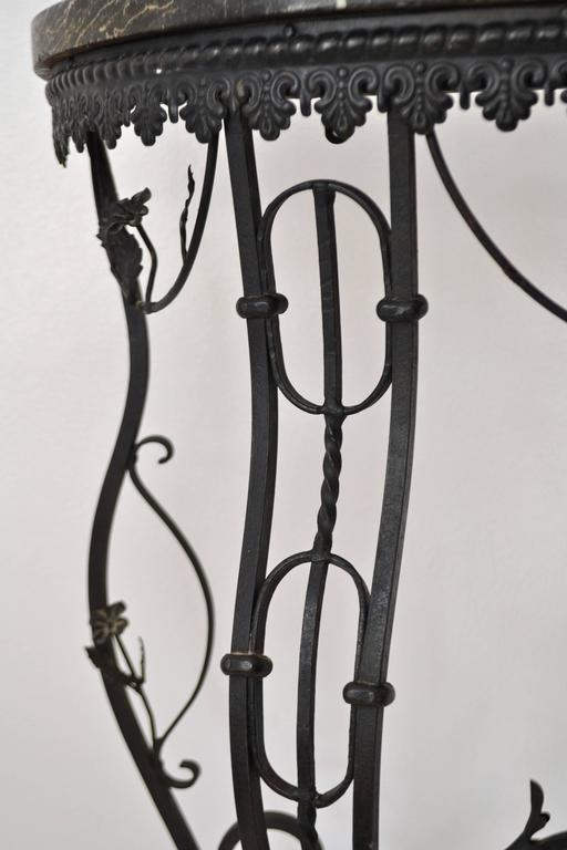 Hollywood Regency Style Italian Wrought Iron Console Table with Marble Top For Sale 5