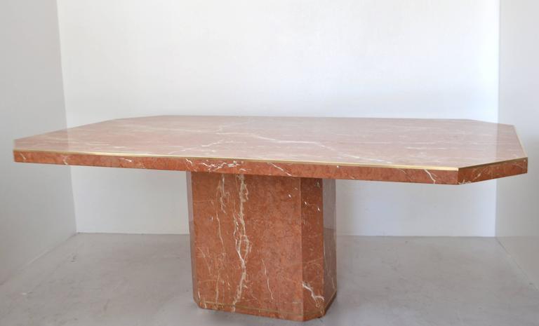 MidCentury Italian Marble Pedestal Dining Table With Brass Inlay At - Mid century pedestal dining table