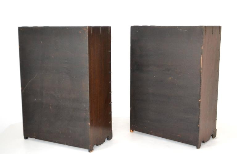 Metal Pair of Hollywood Regency Campaign Style Side Tables For Sale