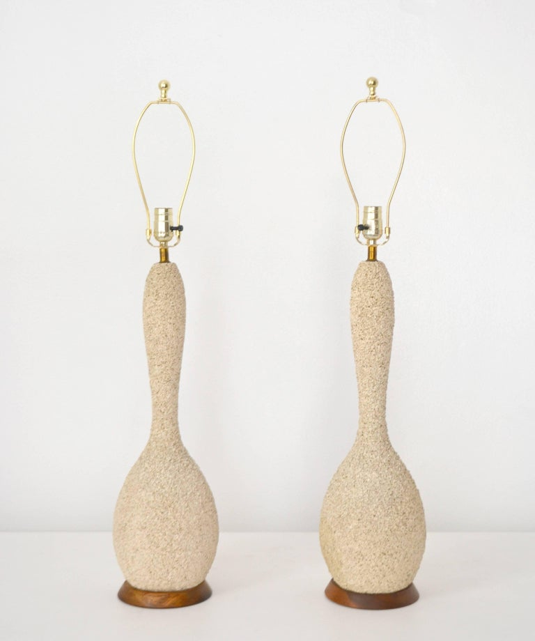 Mid-Century Modern Pair of Mid-Century Sand Glazed Textured Ceramic Gourd Form Table Lamps For Sale