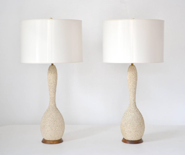 Brass Pair of Mid-Century Sand Glazed Textured Ceramic Gourd Form Table Lamps For Sale