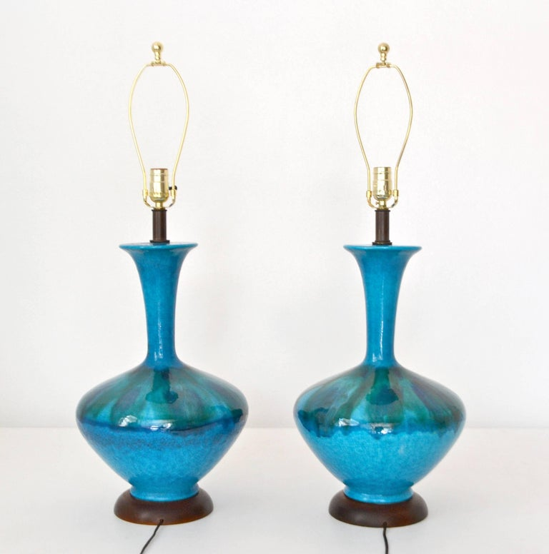 American Pair of Mid-Century Blue Green Crackle Glazed Ceramic Jar Form Table Lamps For Sale