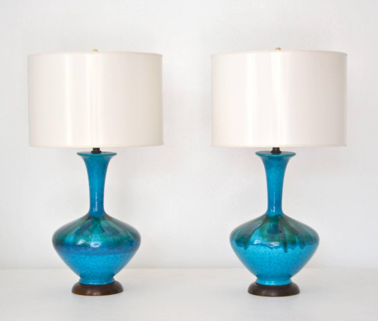 Brass Pair of Mid-Century Blue Green Crackle Glazed Ceramic Jar Form Table Lamps For Sale