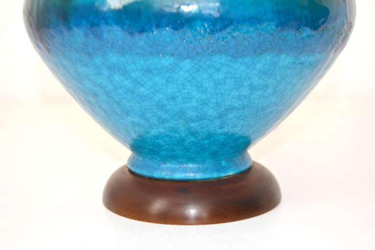 Pair of Mid-Century Blue Green Crackle Glazed Ceramic Jar Form Table Lamps For Sale 1
