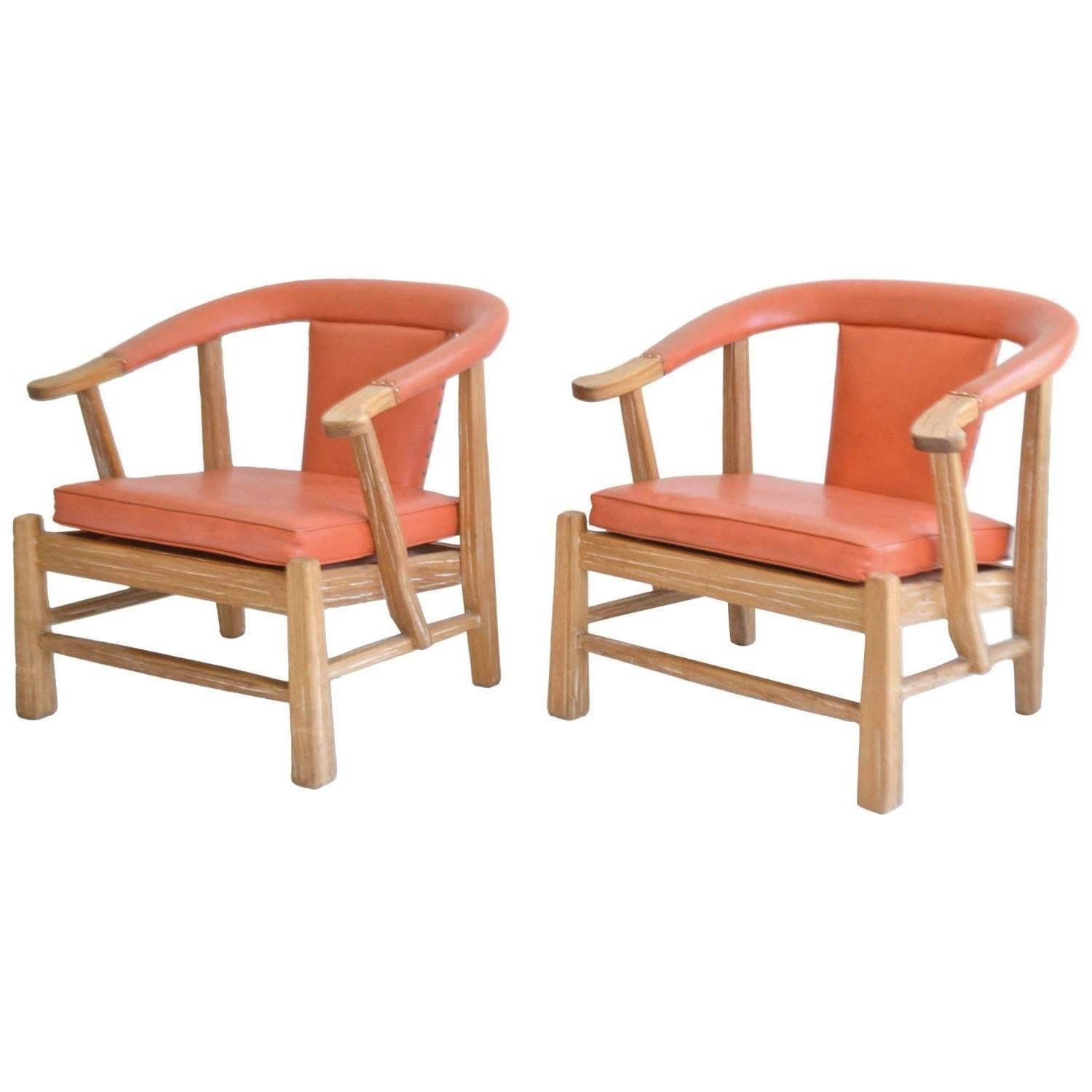 Merveilleux Pair Of Midcentury Asian Inspired Club Chairs / Lounge Chairs For Sale