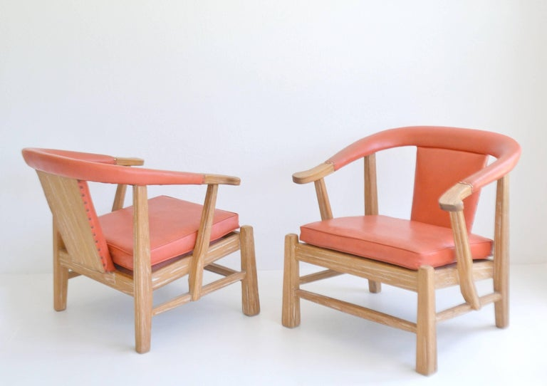 Pair of Midcentury Asian Inspired Club Chairs / Lounge Chairs For Sale 2