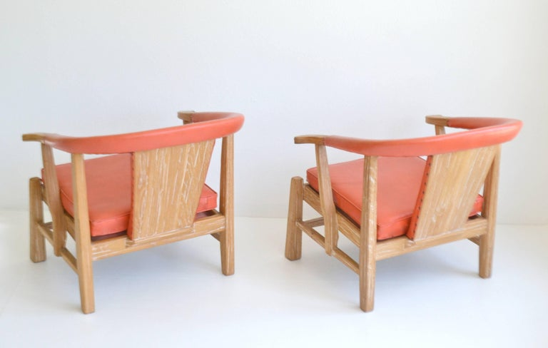 Pair of Midcentury Asian Inspired Club Chairs / Lounge Chairs In Excellent Condition For Sale In West Palm Beach, FL