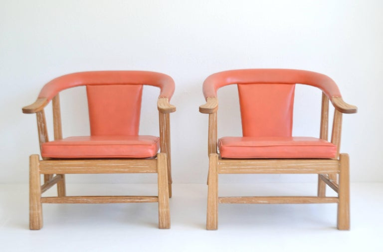 Mid-Century Modern Pair of Midcentury Asian Inspired Club Chairs / Lounge Chairs For Sale