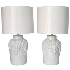 Pair of Hollywood Regency Blanc de Chine Table Lamps