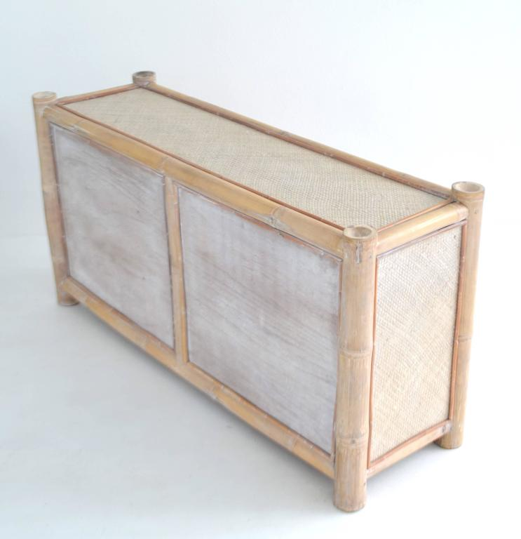 Woven Cerused Bamboo Sideboard For Sale