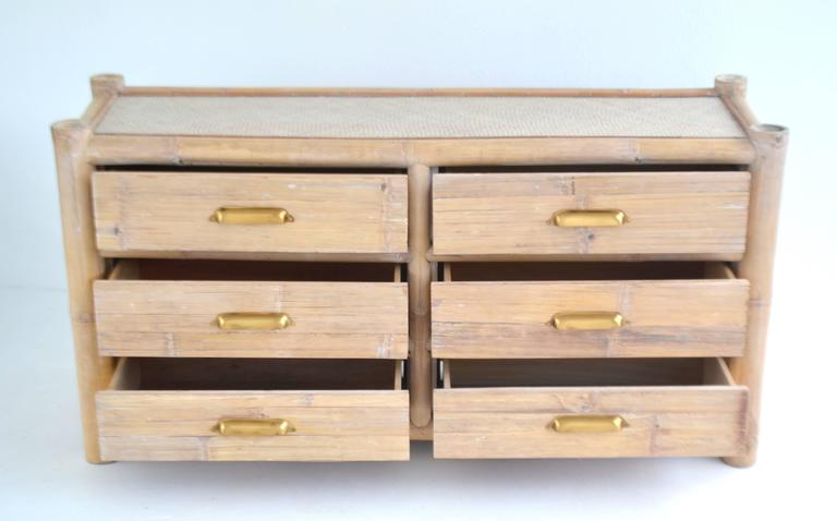 Cerused Bamboo Sideboard In Excellent Condition For Sale In West Palm Beach, FL