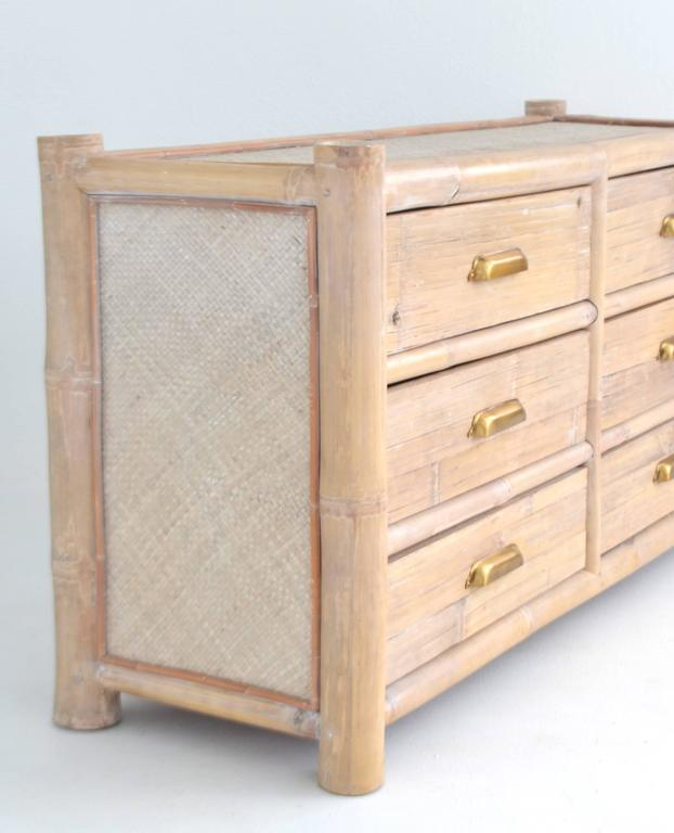 Cane Cerused Bamboo Sideboard For Sale