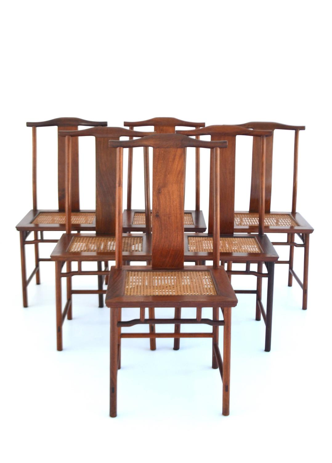 Set Of Six Mid Century High Back Dining Chairs For Sale At 1stdibs