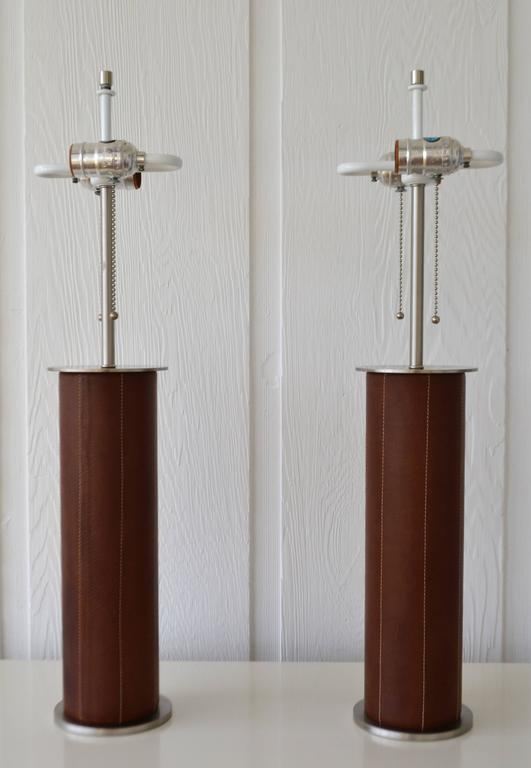 Leather Wrapped Cylinder Form Table Lamps At 1stdibs