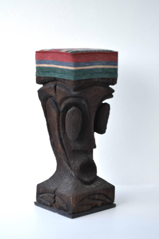 Set Of Four Pop Primitive Sculptural Brutalist Bar Stools
