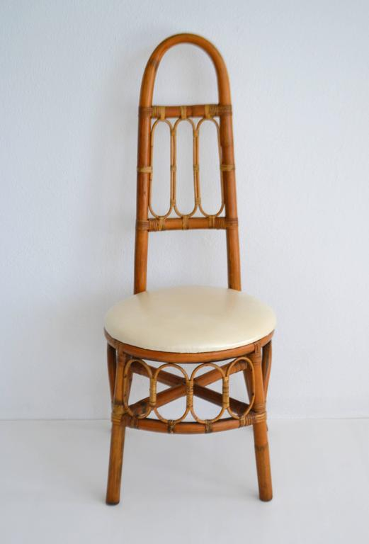 Mid-Century Modern Set of Four Midcentury Bent Bamboo Game Table Chairs or Side Chairs For Sale