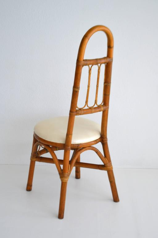 American Set of Four Midcentury Bent Bamboo Game Table Chairs or Side Chairs For Sale