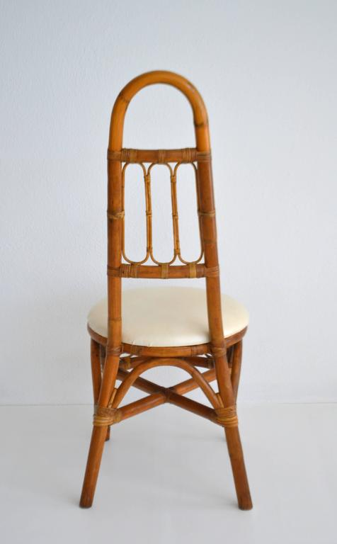 Set of Four Midcentury Bent Bamboo Game Table Chairs or Side Chairs In Excellent Condition For Sale In West Palm Beach, FL