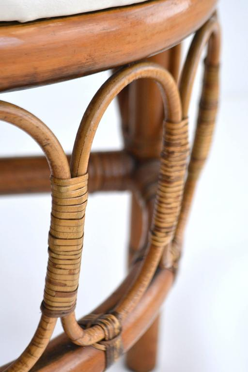 Set of Four Midcentury Bent Bamboo Game Table Chairs or Side Chairs For Sale 3