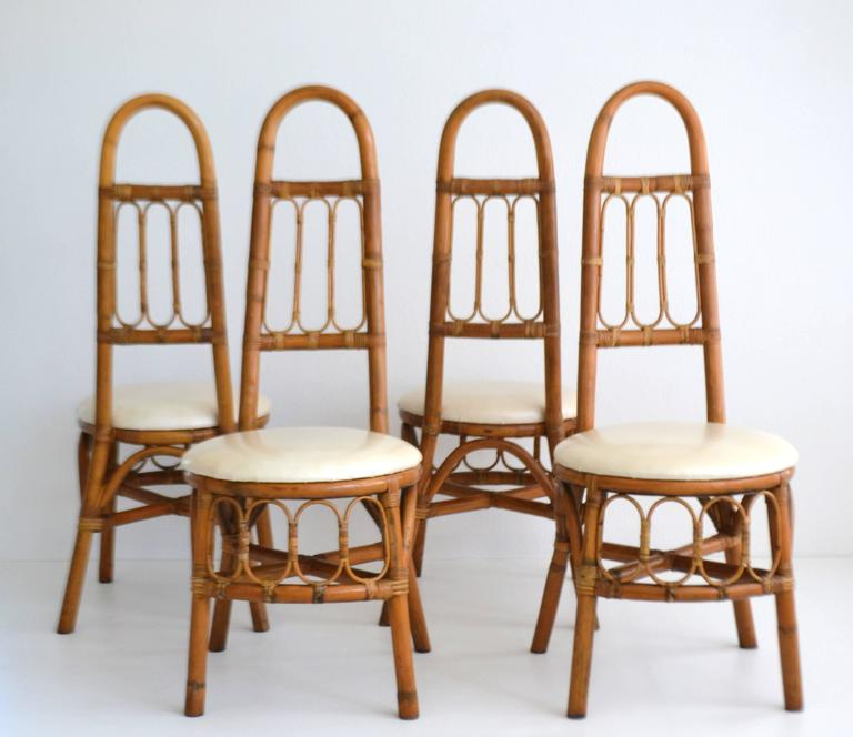 Set of Four Midcentury Bent Bamboo Game Table Chairs or Side Chairs For Sale 4