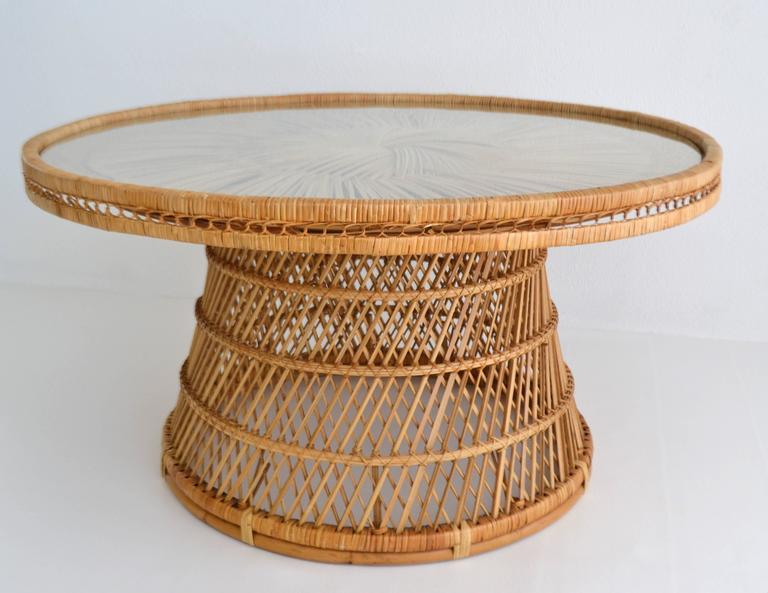 mid century woven rattan coffee table cocktail sale round with glass top vintage