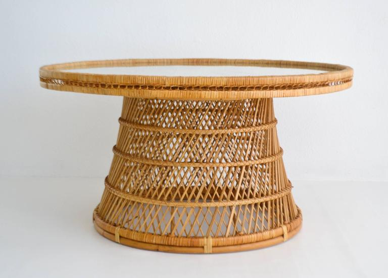 Midcentury Woven Rattan Cocktail Table 4