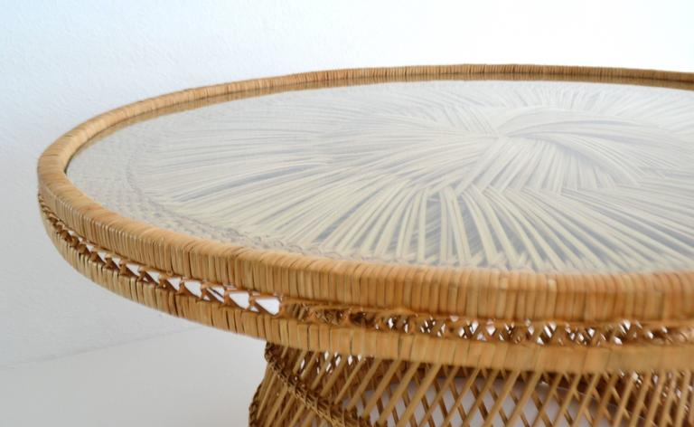 Midcentury Woven Rattan Cocktail Table 6