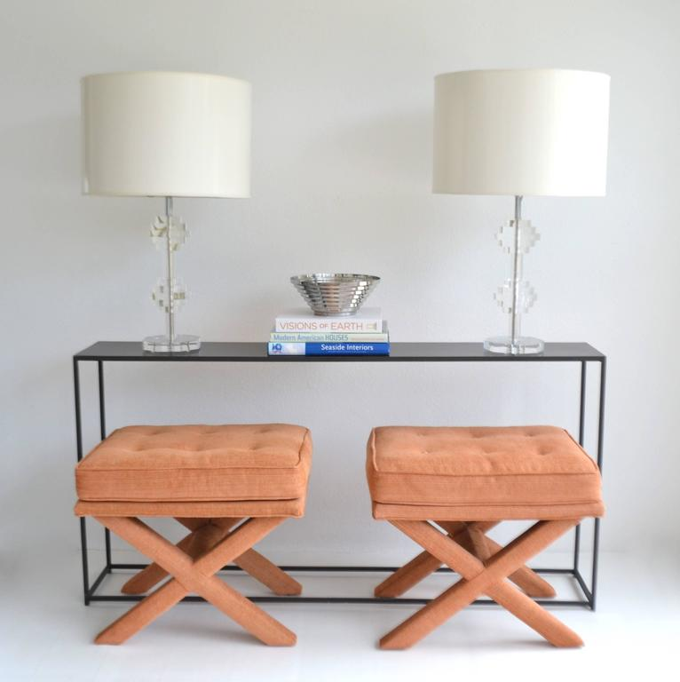 Pair of Mid-Century X-Base Stools/Benches For Sale 2
