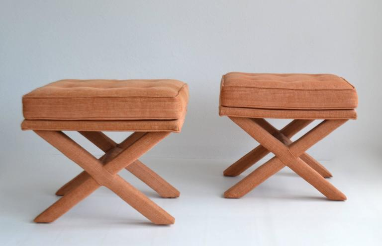 Mid-Century Modern Pair of Mid-Century X-Base Stools/Benches For Sale