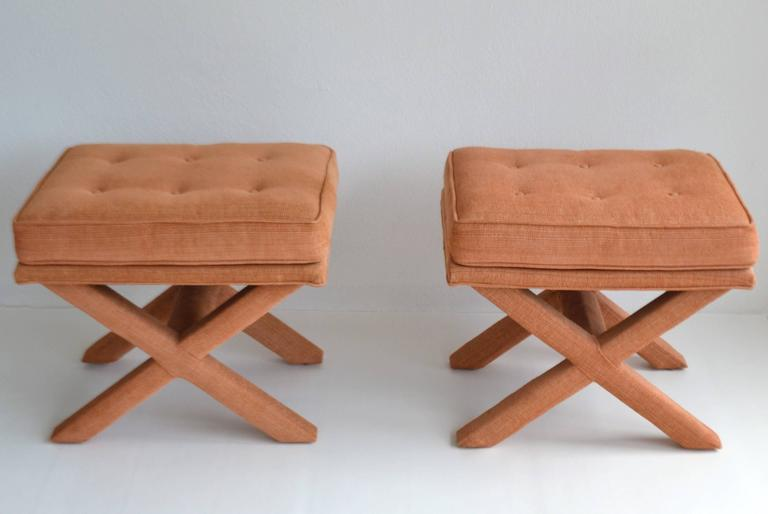 American Pair of Mid-Century X-Base Stools/Benches For Sale
