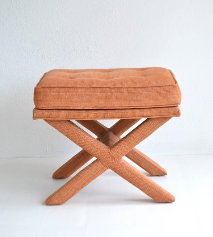 Pair of Mid-Century X-Base Stools/Benches In Excellent Condition For Sale In West Palm Beach, FL