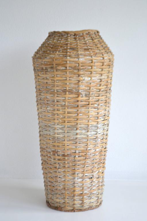 Mid-20th Century Sculptural Whitewashed Woven Rattan Basket For Sale