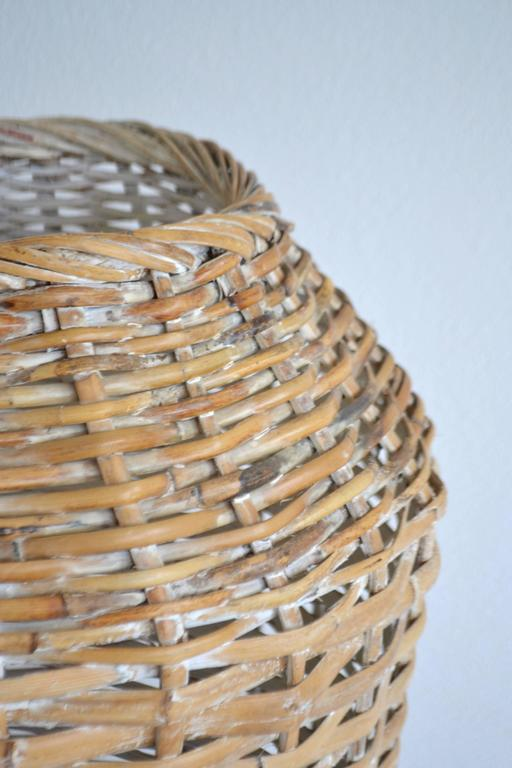 Bamboo Sculptural Whitewashed Woven Rattan Basket For Sale