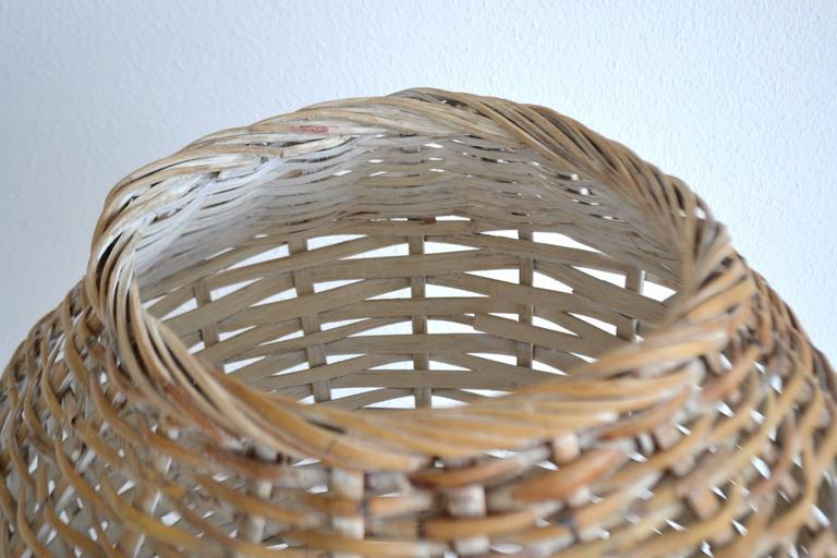 Sculptural Whitewashed Woven Rattan Basket For Sale 1
