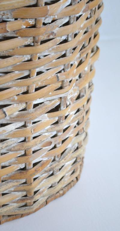 Sculptural Whitewashed Woven Rattan Basket For Sale 3
