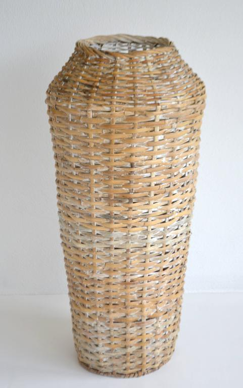 Sculptural Whitewashed Woven Rattan Basket For Sale 4