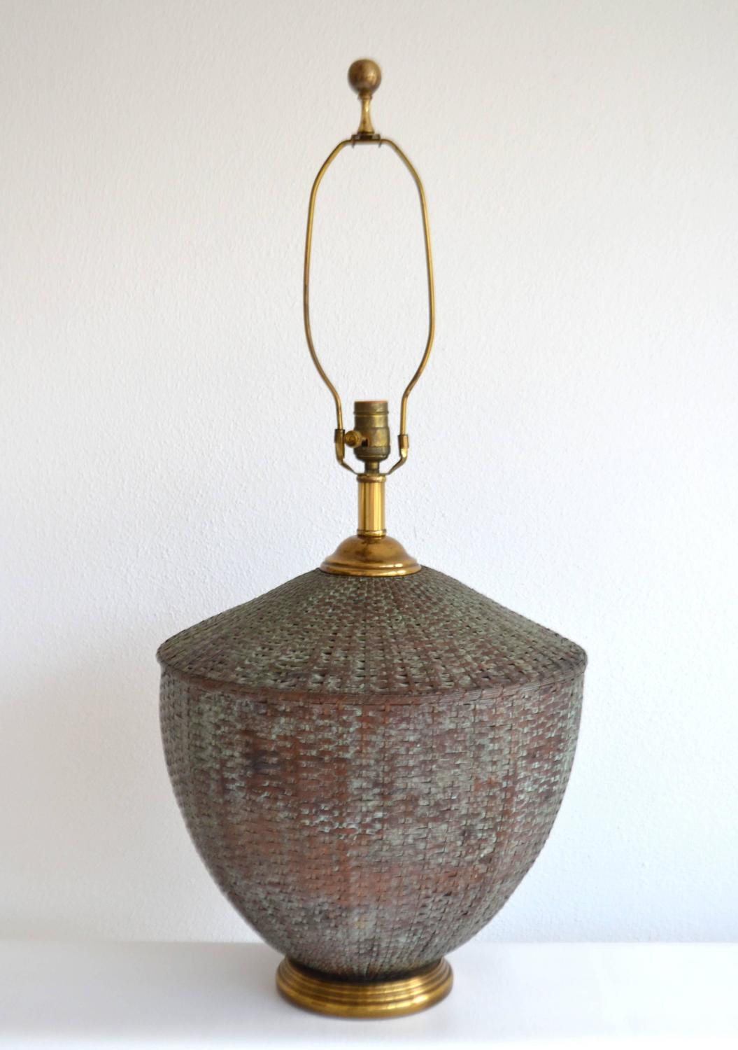 Woven Basket Lamp : Woven copper basket form table lamp for sale at stdibs