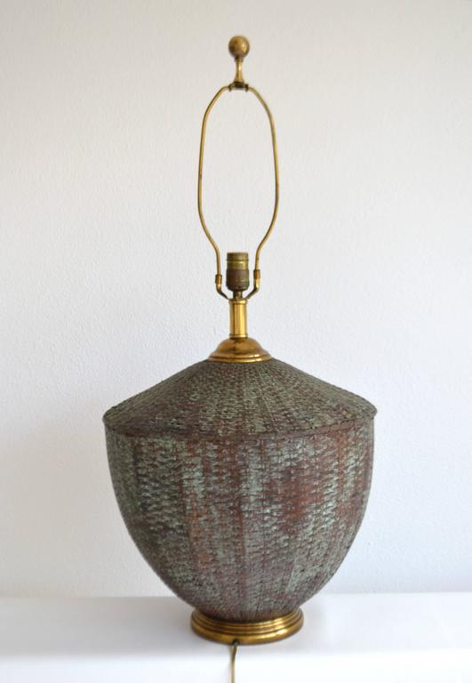 Woven Copper Basket Form Table Lamp For Sale At 1stdibs
