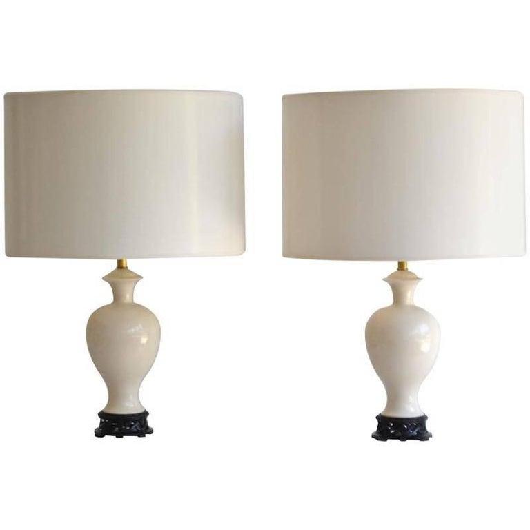 Pair of Hollywood Regency Blanc de Chine Ceramic Table Lamps