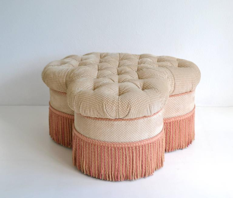 Hollywood Regency Style Clover Leaf Form Tufted Ottoman At