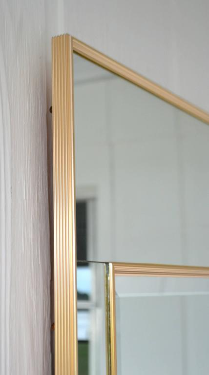 Beveled Hollywood Regency Mirror-Framed Wall Mirror For Sale