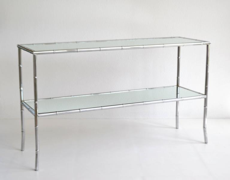 Mid Century Modern Midcentury Chrome Faux Bamboo Console Table For Sale